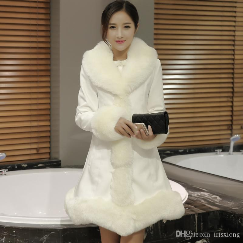 Новая мода кожаная одежда хлопок женский Лисий мех воротник длинный тонкий шить куртка зима большой размер женская куртка SML XL 2XL 3XL 4XL S