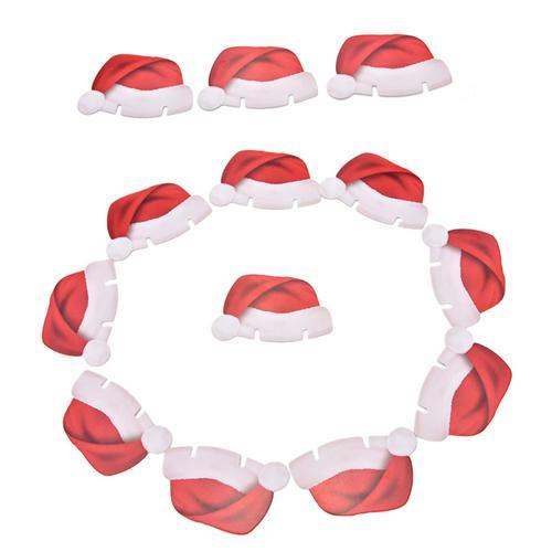 10 sztuk / partia Xmas Santa Claus kapelusze szampana szkło Decor Paperboard Noel Navidad Nowe ozdoby świąteczne do domu