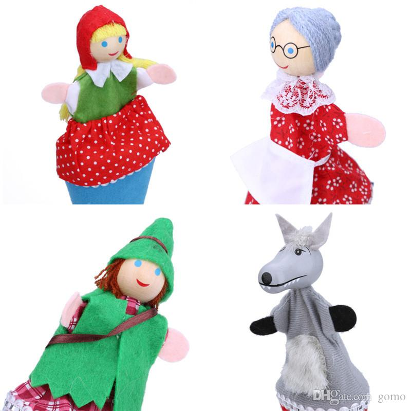 4pcs/set Retractable Little Red Riding Hood Four Loaded Hide and Seek Doll Family Fun Wood and Cloth Interactive Doll