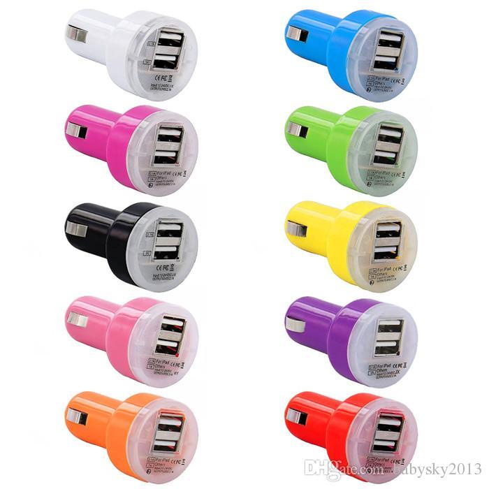Car Charger Universal 2.1 + 1A Dual USB Car Charger Entrada colorido Mini carregador de isqueiro para iphone 5 6 7 para samsung pc orador mp3