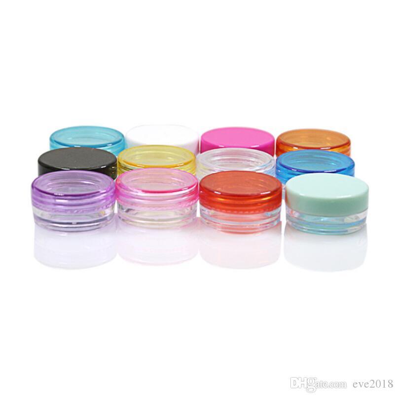 2ml colorato vaso di crema di plastica rotonda mini campione riutilizzabile vuoto 2g balsamo per le labbra in polvere barattolo all'ingrosso LX2449