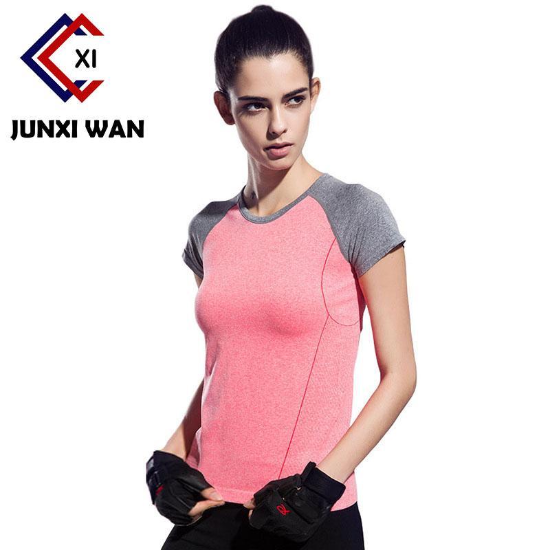 Горячий ! Женщины с коротким рукавом Спорт Quick Dry футболка Gym Компрессионные колготки женщин Фитнес Бег Спортивный тройники Йога Рубашки WT0189