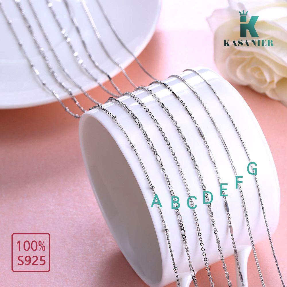 KASANIER 7 Designs Option 16-20 Zoll feine S925 Sterling Silber Halskette Ketten mit Karabiner Set für Mädchen Frau