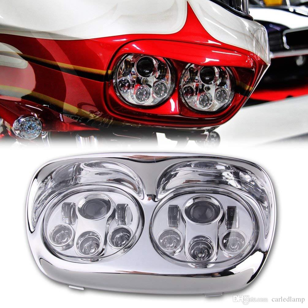 Motorcycle Headlight Dual LED Adaptive Motorbike Headlight Replacement Projector Headlamp for Road Glide Light