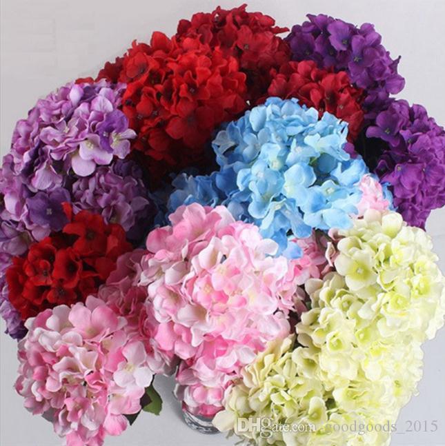 Hydrangea Artificial Silk Flowers Bridal hand Bouquet Fake flowers For Wedding Home Decoration flores artificiales c545