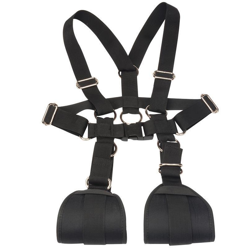 BDSM M Open Leg Restraints Body Harness Strap Bondage Gear with Handcuffs for Easy Access Sexual Play Black Nylon BX734A