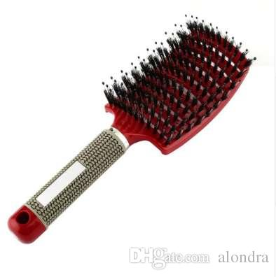 Frauen Haar Kopfhaut Massage Kamm Borsten Nylon Haarbürste Nasses Lockiges Detangle Haarbürste für Salon Friseur Styling Werkzeuge