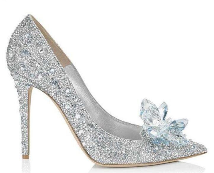 الفضة والزجاج الزفاف أحذية الزفاف الكلاسيكية بلينغ كريستال عالية الكعب أحذية امرأة أشار تو المرأة مضخات Zapatos موهير