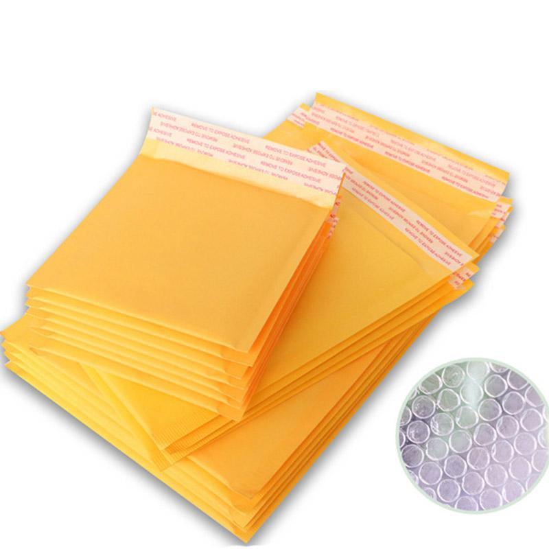 5 Adet 11 * 13 15 * 18 cm Kabarcık Posta Çanta Ile Sarı Zarf Kraft Kağıt Zarflar Çanta Postacılar Yastıklı Mini Dosya Tutucu Için ofis