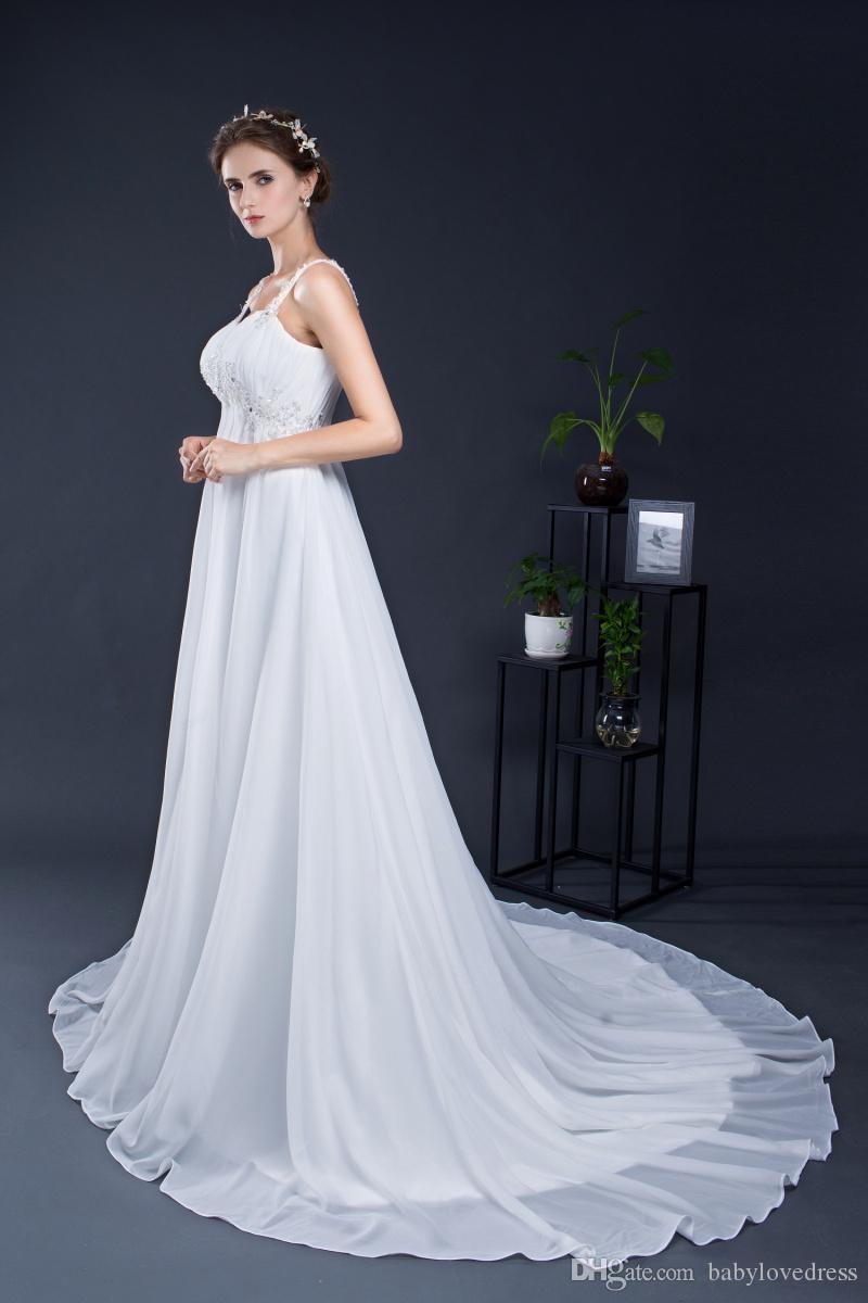 Дешевые материнства свадебные платья 2019 бретельках аппликации драпированные шифон плюс размер на складе vestidos реальные фото беременных свадебные платья
