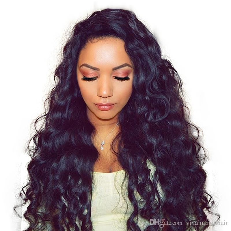 150% density Lace Front wigs Curly Loose Water Wave Brazilian Full Lace Human Hair Wigs Pre Plucked Natural Hairline Bleach Knots Qtfn