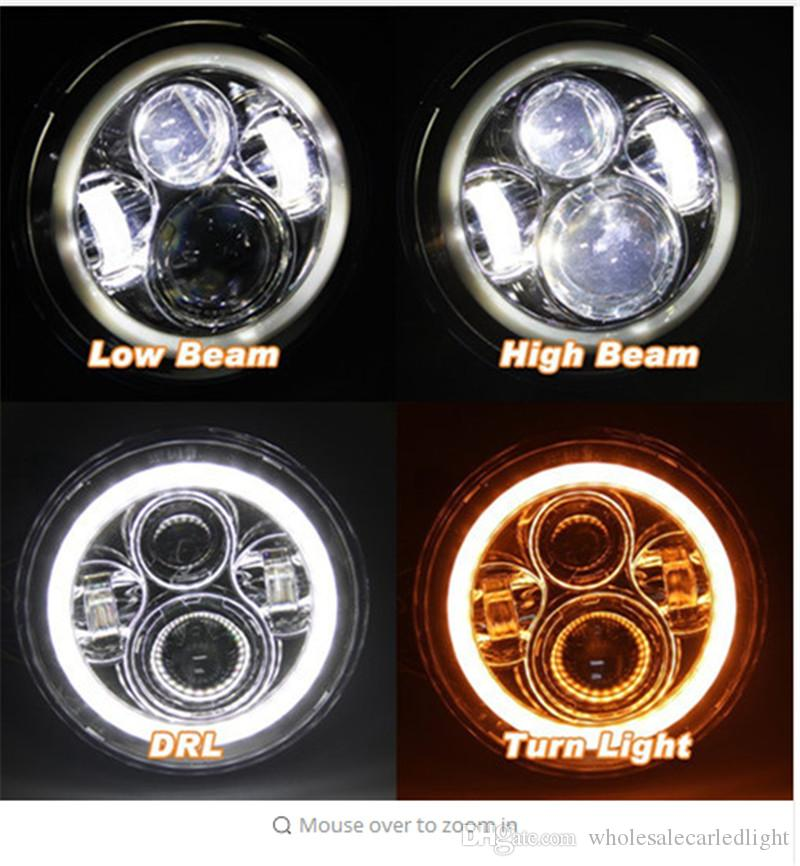 "4/"" 7 Colors Halo Rim Projector Fog Lights w// Switch H7 Bulb"