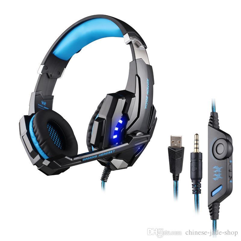 KOTION EACH G9000 7.1 Surround Sound Gaming Headset 3.5mm Casque de jeu d'ordinateur avec lumière LED pour Tablet PC PS4 Téléphones 10pcs / lot