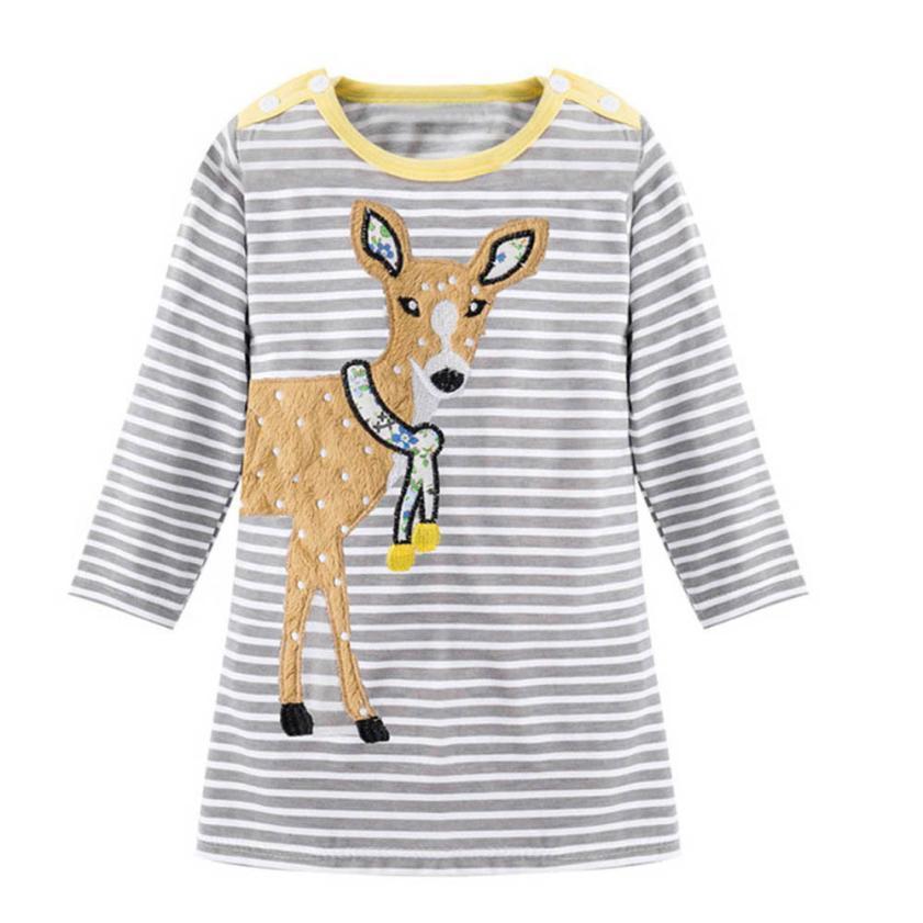 Toddler Kids Baby Children Dress Girls Striped Animal Printed Long Sleeve Dresses Outfit Casual Girls Dress Vestidos Infantil