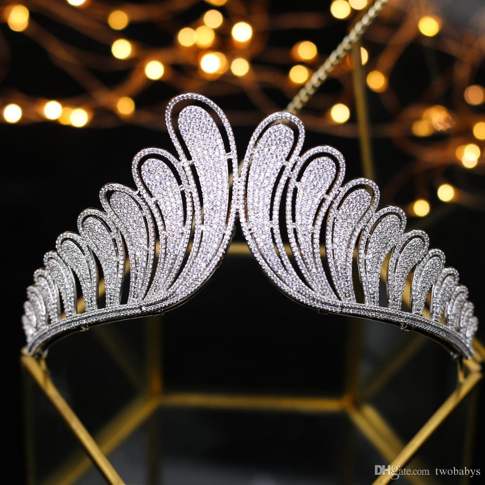 En Kaliteli Kraliyet Kraliçe Zirkon Gelinler Tiaras Taçlar Avrupa Gümüş Kristal Hairbands Düğün Saç Aksesuarları Balo Jewel