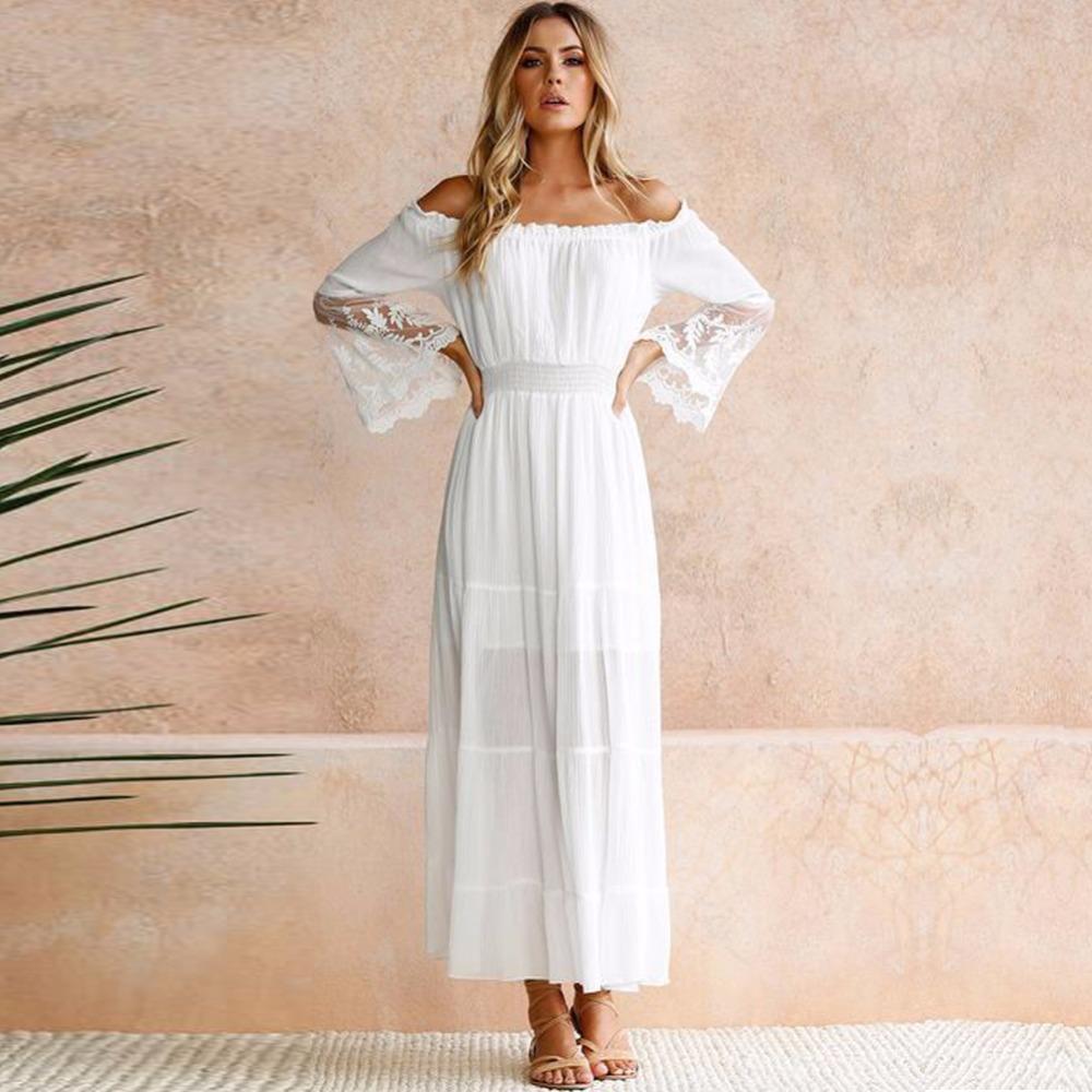 Großhandel Sommer Sommerkleid Lange Frauen Weißen Strandkleid Trägerlosen  Langarm Lose Sexy Schulterfrei Spitze Boho Baumwolle Maxi Kleid Von