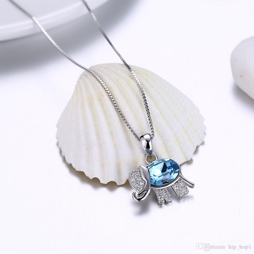 Luxury 925 Sterling Silver Link Chain Necklace Top Quality Crystal Cute Elephant Pendant Necklace for female Party Fashion Jewelry Box Chain