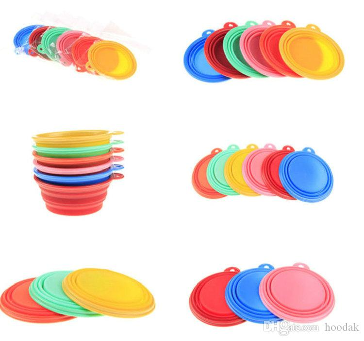 2018 Silicone Dog Folding Bowl Cat Puppy Pet Feeding Travel Bowls With Carabiner Easy Carry and wash Pet Food Bowl Feeder Dish 5pcs
