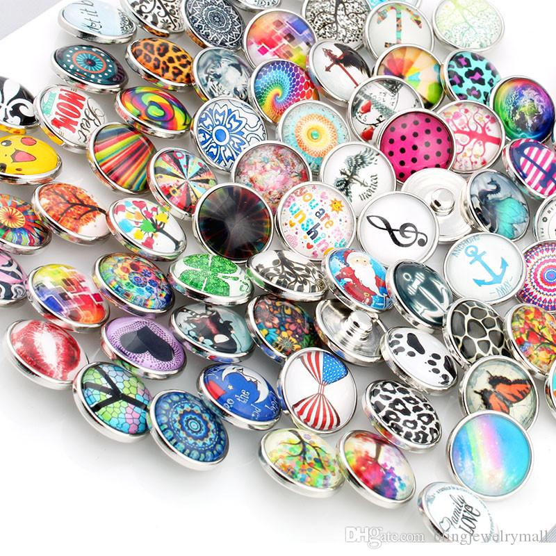 18mm Glass Snap Button Mixed Styles Pattern Color For DIY Snaps Bracelet Necklace Earring Jewelry