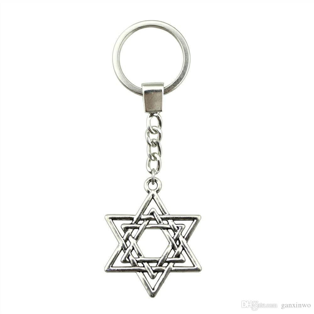 6 Pieces Key Chain Women Key Rings Fashion Keychains For Men Star Of David 33x26mm