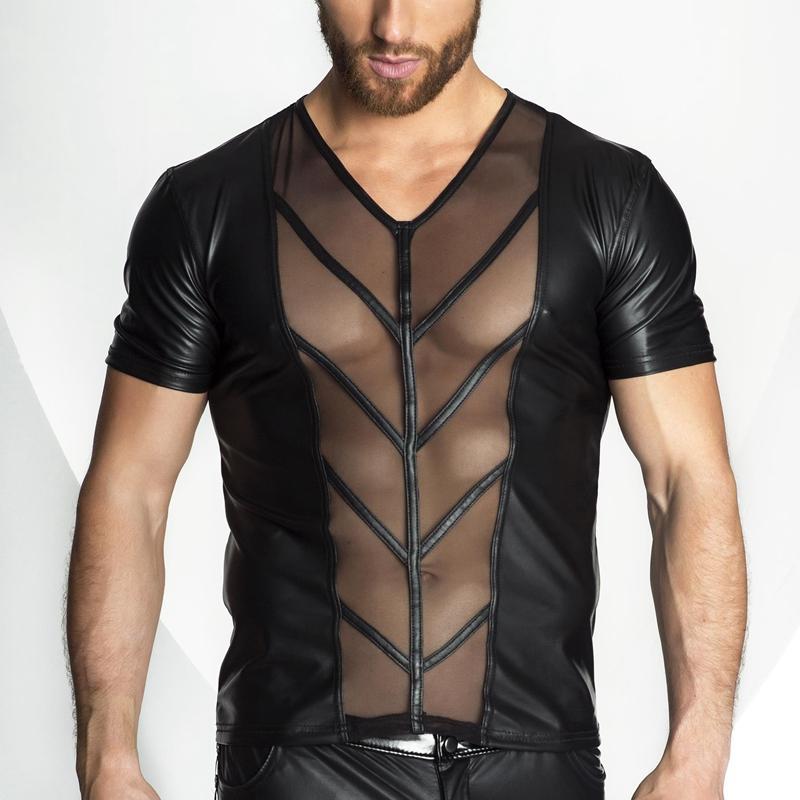 wholesale 2018 New Faux Leather Mesh T shirt Men Tops Hip Hop Summer T shirt Men Sexy Fitness Male Tees Black Plus Size S-XXL