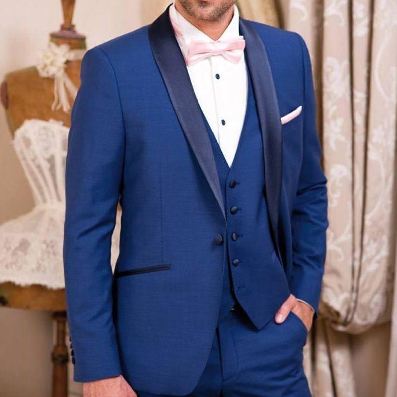 Nuovo stile Groomsmen Scialle Smoking dello sposo bavero Royal Blue Abiti da uomo Matrimonio / Prom. Best Man Blazer (Giacca + Pantaloni + Vest + Tie) A273