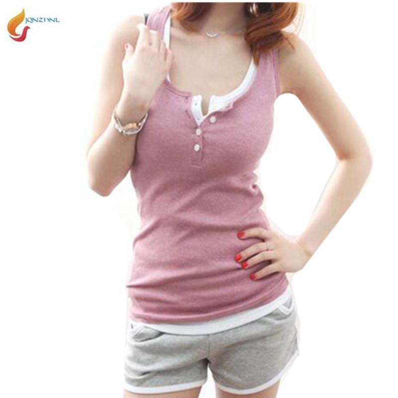 JQNZHNL Summer Women sexy slim tight vest sleeveless tops T-shirt screw thread buttons H vest T-shirt summer new Women G624