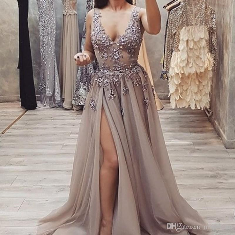 2018 Deep V-Neck Prom Dresses Beads Sequins Appliques Side Split Evening Gown Tulle Party Dress Cheap Custom Made Sexy Cocktail Dress