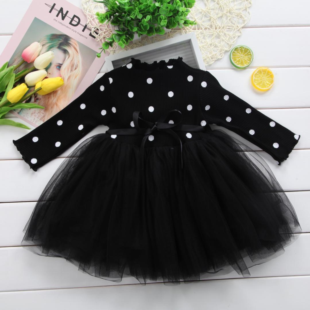 Prenses Uzun kollu Bebek Kız Elbise Yenidoğan Bebek Kız bebek Giysileri Yay Nokta Tutu Balo Parti Elbiseler Çocuk giysileri