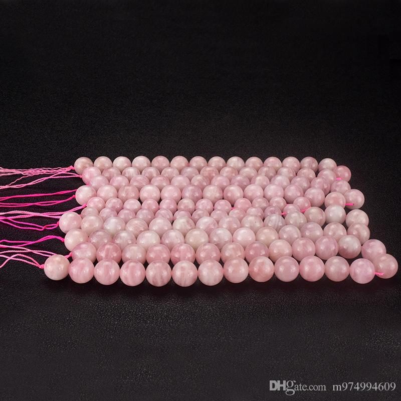 1 Strand Natural pink Stone Crystal semi-precious stones balls rose quartz Round Loose Beads Necklace Bracelet DIY Jewelry