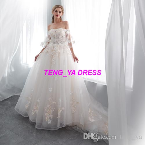 2018 Strapless Tulle Train Lace Flower Beaded Off Shoulder Customized Made Wedding Dress E003