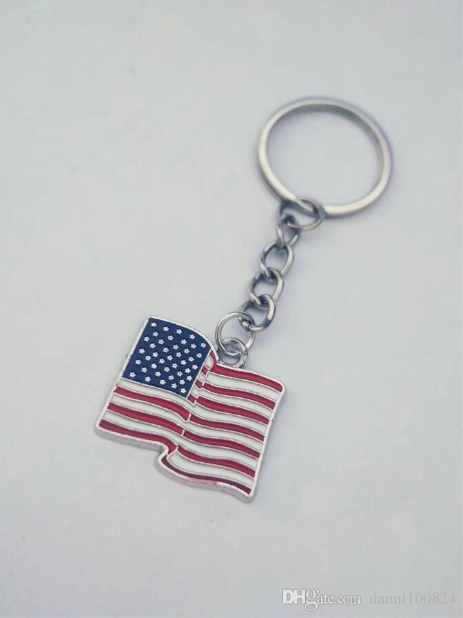 20pcs / lot Moda takı Tibet gümüş Emaye Amerikan bayrağı çekicilik kolye anahtarlık halkası Araç Çanta Süsleri Anahtarlık A20