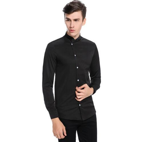 fba6f6d8 Solid Color Shirt Men 2017 Fashion Slant Button Design Dress Shirts Casual  Mandarin Collar Slim Fit