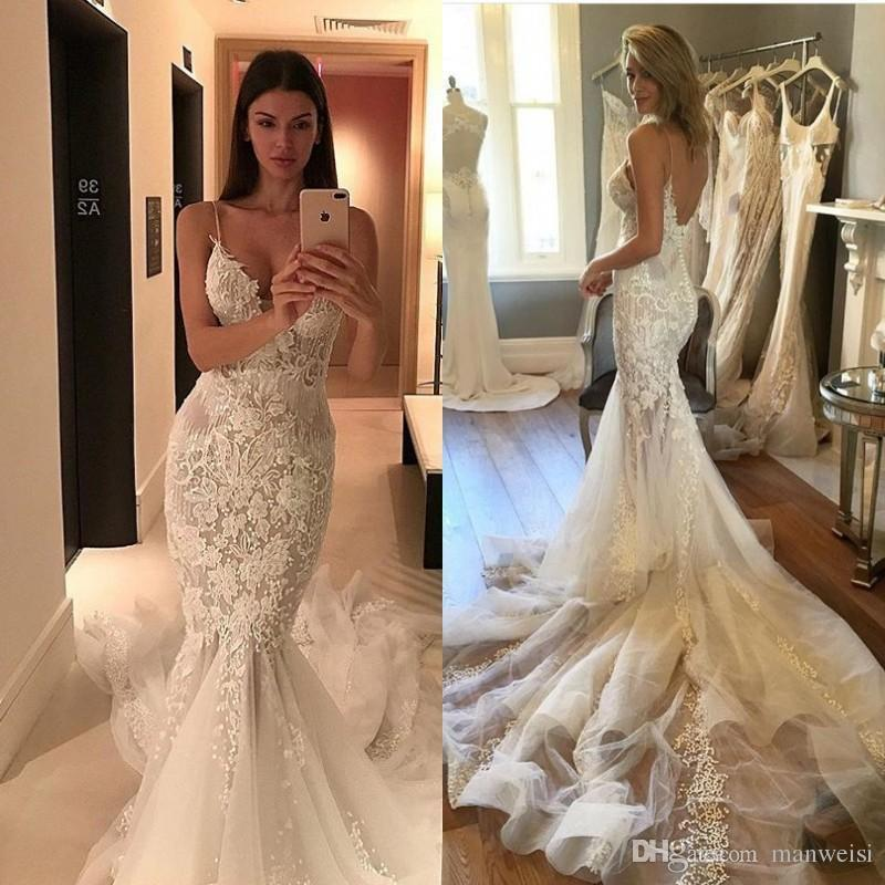Country Mermaid Beach Wedding Dresses 2018 Pallas Couture Spaghetti Straps Backless Fishtail Bridal Gowns Lace Appliqued Wedding Dress Wedding Mermaid