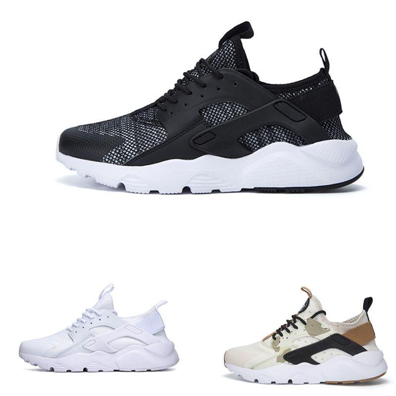 أحدث Huarache 4 IV أحذية الجري للرجال ، أسود أبيض رمادي جودة عالية أحذية رياضية ثلاثية Huaraches الركض الأحذية الرياضية 36-45