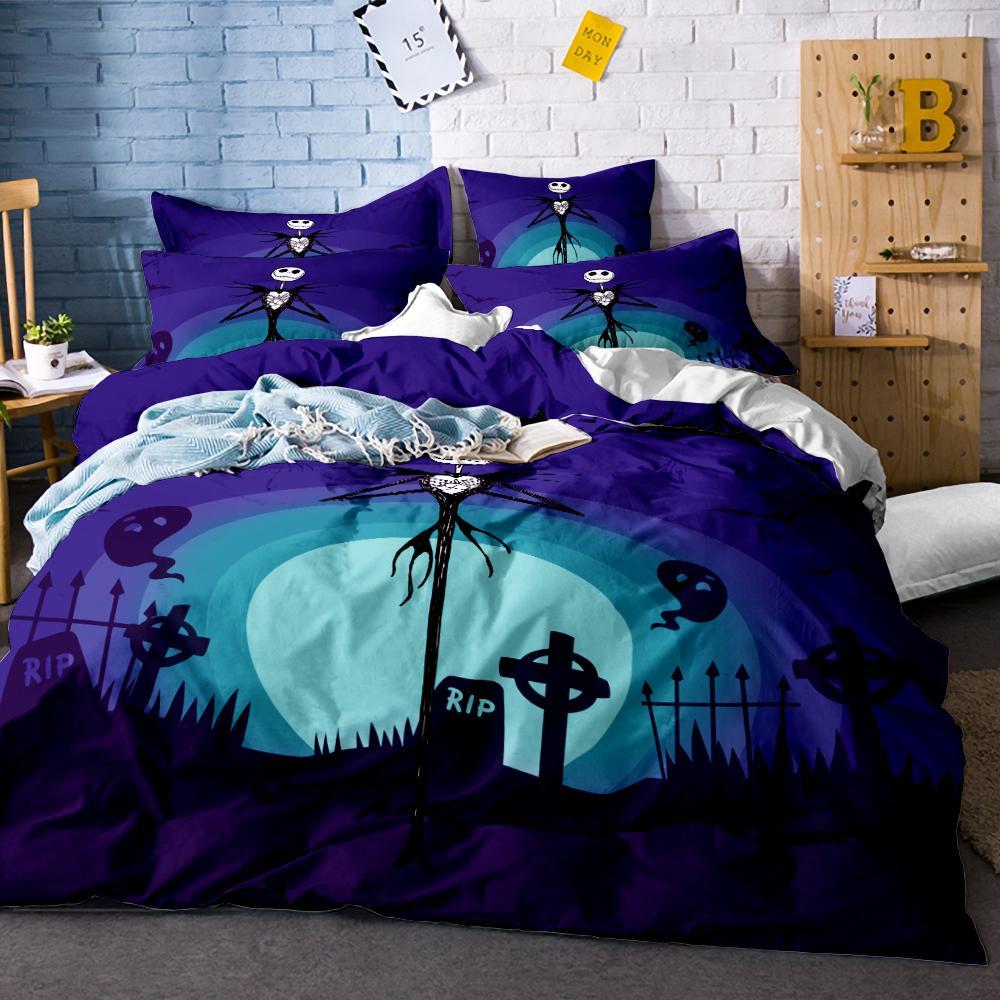 Nightmare Before Christmas Skull Bedding Duvet Cover Set Quilt Cover Pillowcase Duvet Covers Bedding Sets Bedding