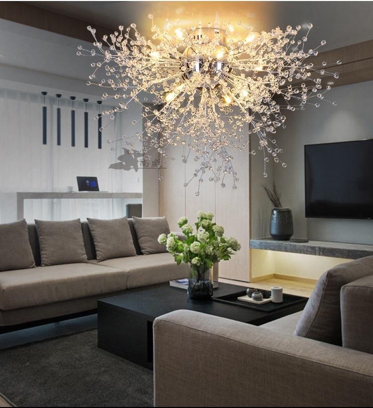 Moderne pissenlit LED plafonnier plafonnier lampe en cristal clair pour cuisine chambre salon hall élégant luminaire