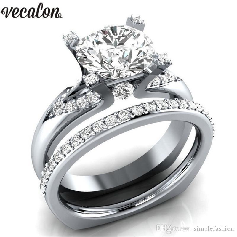Vecalon 3 kolory birthstone żeński pierścień srebrny kolor kryształowy CZ zaręczynowy zespół ślub pierścień dla kobiet Dropshipping biżuteria