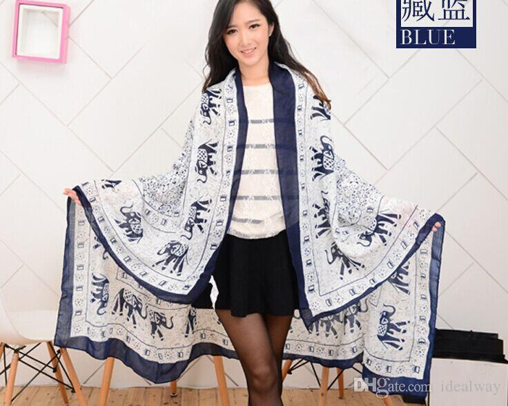 100% silk Fashion Lovely Cotton Scarf New Arrival Famous Elephant Design Scrawl Long Rectangle Scarves Shawl