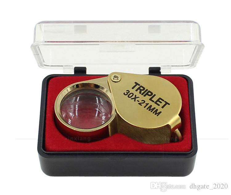 المحمولة 30X الطاقة 21 ملليمتر المجوهرات المكبر الذهب العين العدسة مجوهرات مخزن أدنى سعر المكبرة الزجاج مع مربع رائع dhlfreeshipping