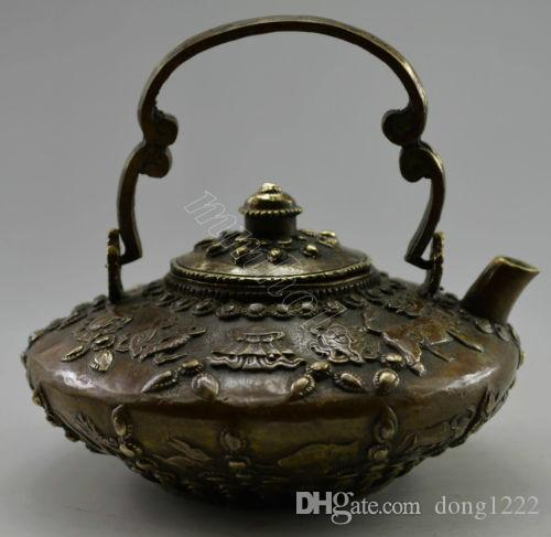 Chinese Decorated Old Handwork Copper Carved Tibet 12 Zodiac Tea Pot