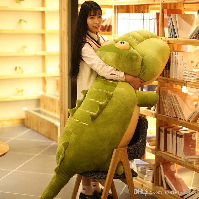 Dorimytrader Jumbo Cute Cartoon Crocodile Plush Toy Giant Stuffed Animal Alligator Doll Pillow for Children Gift 130cm 170cm DY50456