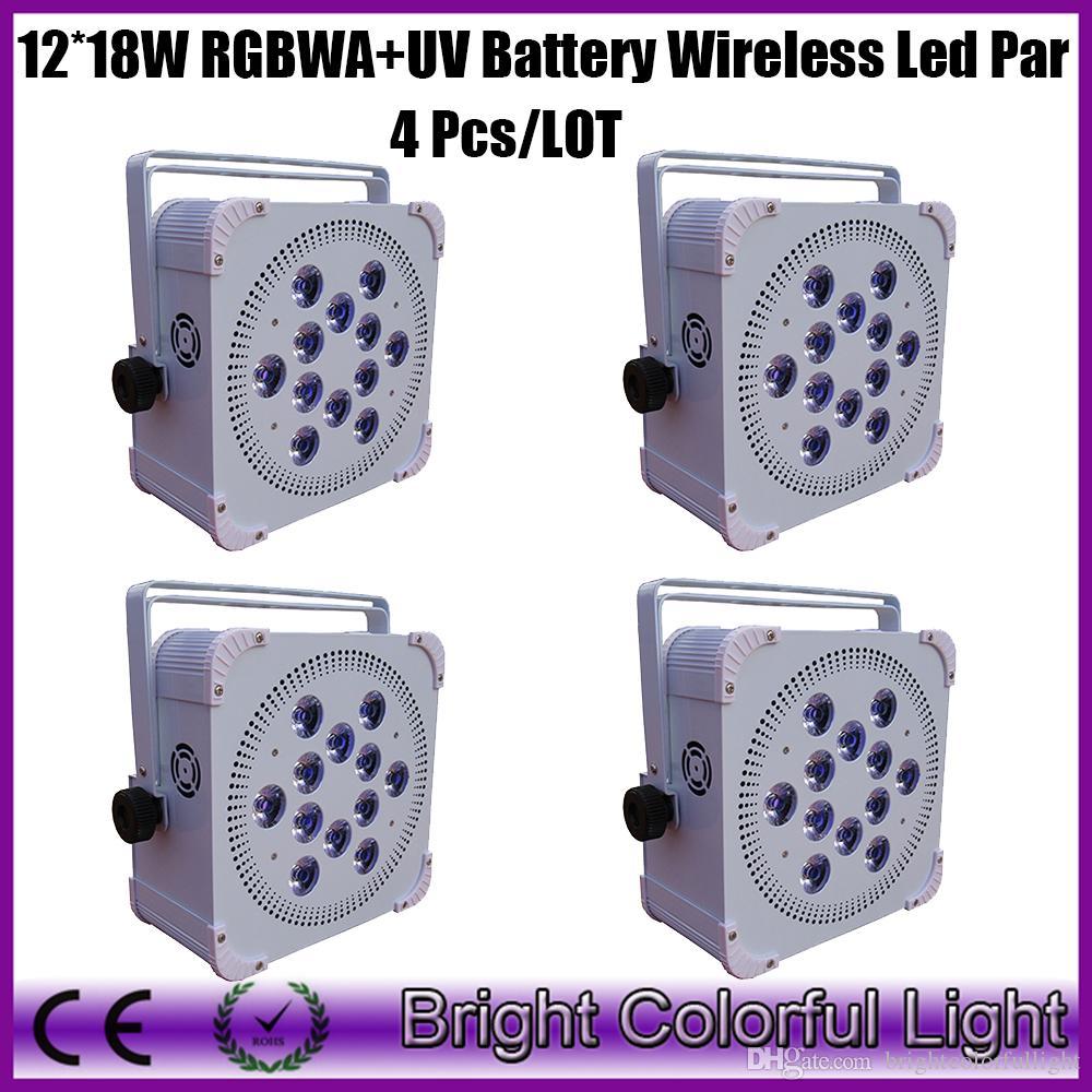 4XLOT Best selling Led Wireless Battery Flat Par Led Battery Par Stage Light, Battery Powered Led Stage Lighting 12*18W RGBWA UV