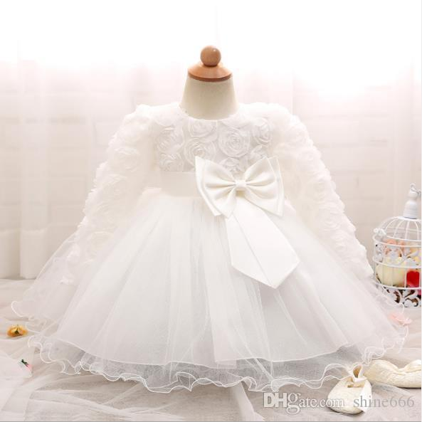 Vestido de invierno para niña Vestidos de bautismo de manga larga, niña blanca 1 año de cumpleaños, vestido de bola de bautizo de encaje de niña pequeña