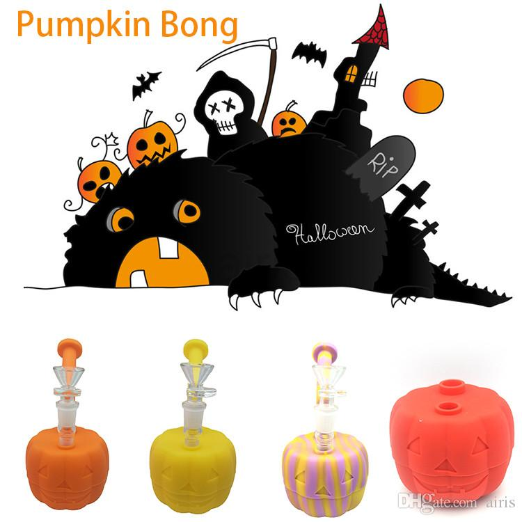 70MM Halloween Pumpkin dab rig with glass bowl Foldable Silicone Tobacco Easy cleaning stem Hookah Bongs FDA food grade material smoke pipe