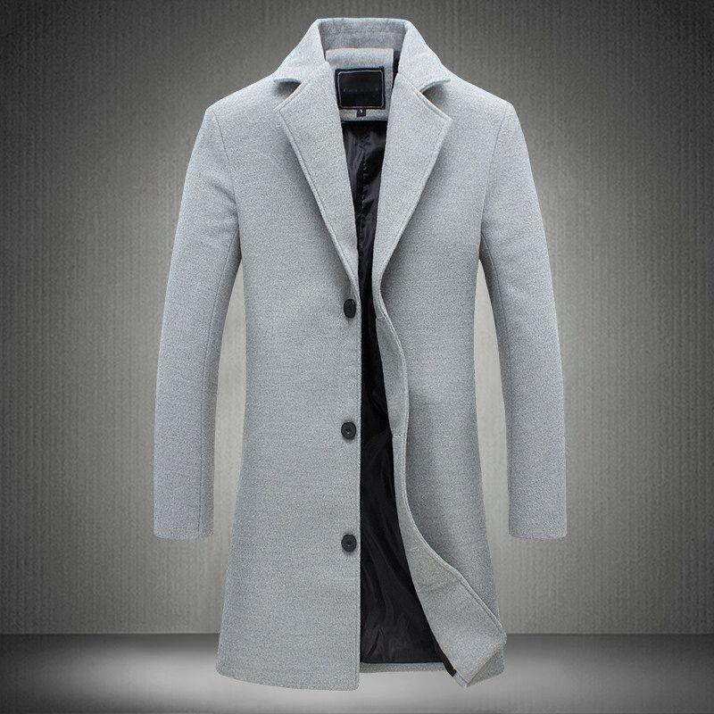 MRMT 2018 브랜드 남성 자켓 긴 단색 싱글 브레스트 트렌치 코트 캐주얼 오버 컷 남성 자켓 바지 겉옷