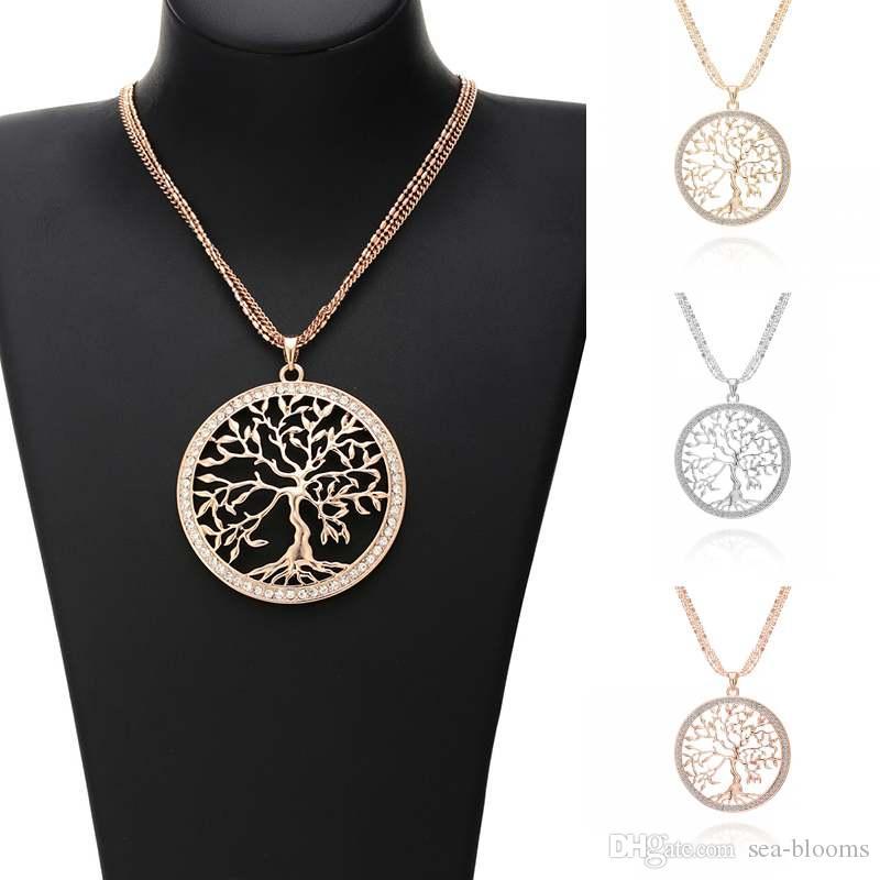 Nouveau À La Mode Alliage Rond Vie Arbre de Vie Creux Pendentif Bijoux Colliers Pour Les Femmes De Mode Puce Strass Chandail À Longue Chaîne D788S