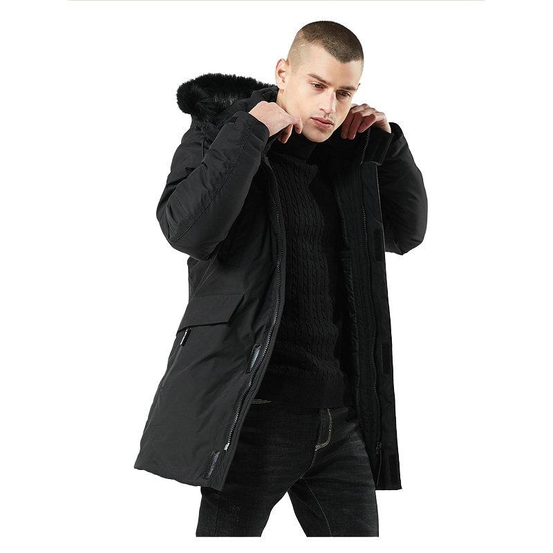 جودة عالية سميكة الدافئة سترة الرجال مقنعين طويلة عارضة ضئيلة سترة واقية الرجال الشتاء سترة معطف