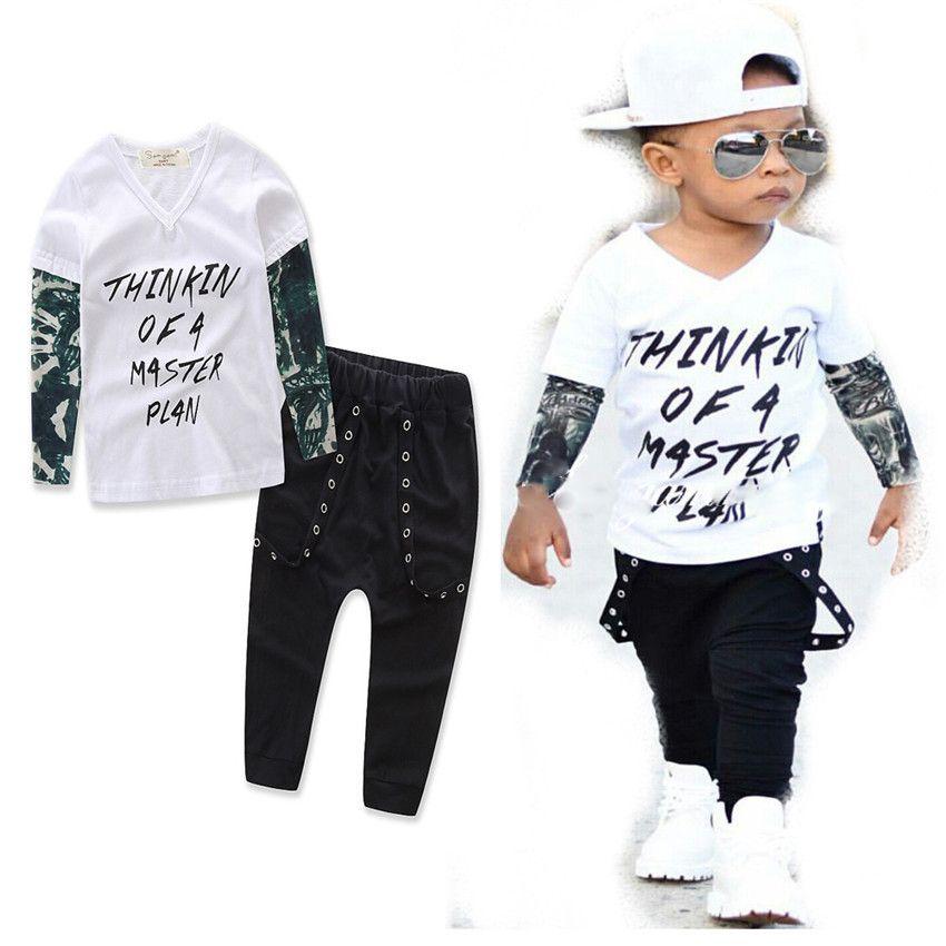 INS Children outfits boys cotton letter Top+pants 2pcs/set baby suits 3 styles C2192