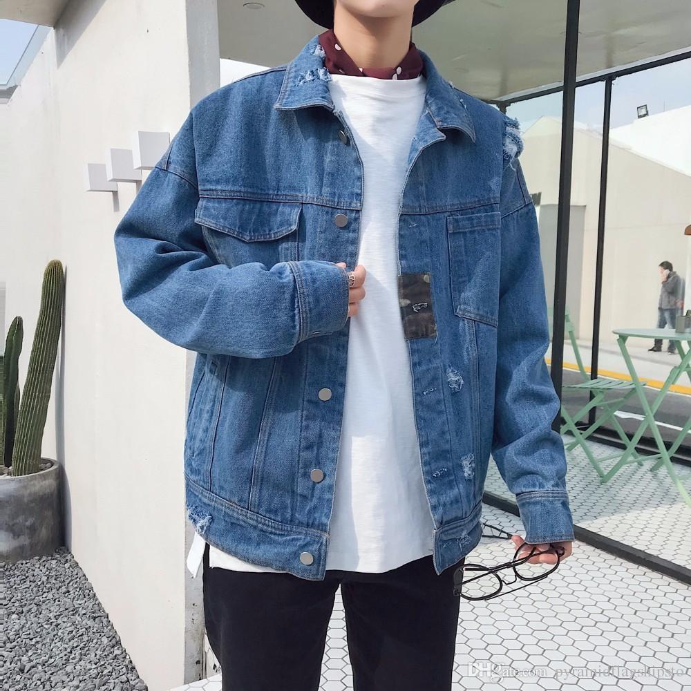 herkät värit yksinoikeudella käsitellään paras online 2018 New Men'S Fashion Cowboy Jackets Loose Casual Bomber Streetwear Denim  Jacket Clothes Black/Bule Color Jeans Coats M 2XL Fur Jean Jacket Cheap ...